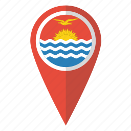 country, flag, kiribati, map marker, national, pin icon