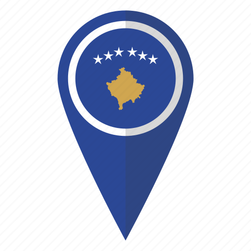 country, flag, kosovo, map marker, national, pin icon
