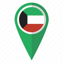 country, flag, kuwait, map marker, national, pin icon