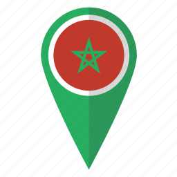country, flag, map marker, maroc, morocco, national, pin icon