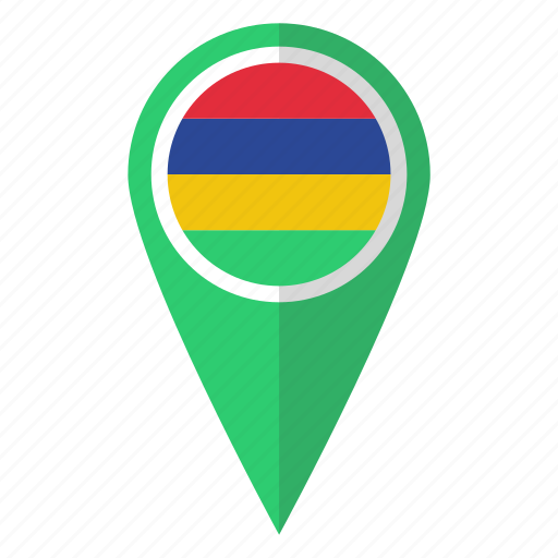 country, flag, map marker, mauritius, national, pin icon