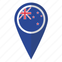 country, flag, kiwi, map marker, new, pin, zealand icon