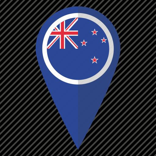 country, flag, kiwi, map marker, new, pin, zealand icon