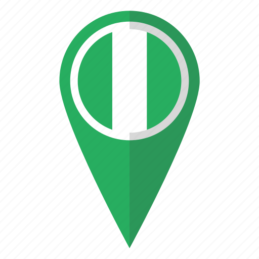 country, flag, map marker, national, nigeria, nigerian, pin icon
