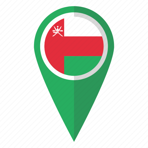 country, flag, map marker, national, oman, pin icon