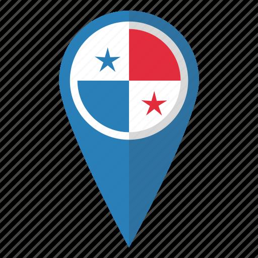 country, flag, map marker, national, panama, panamian, pin icon