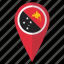 flag, map, papua new guinea, pin icon