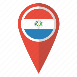 country, flag, map marker, national, paraguay, paraguayan, pin icon