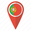 flag, pin, portugal, map icon