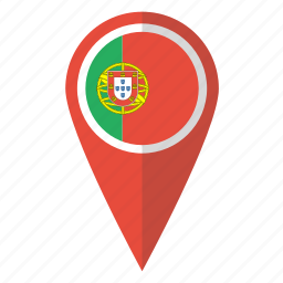 country, flag, map marker, national, pin, portugal, portuguese icon