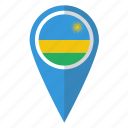 country, flag, map marker, national, pin, rwanda, rwandan icon