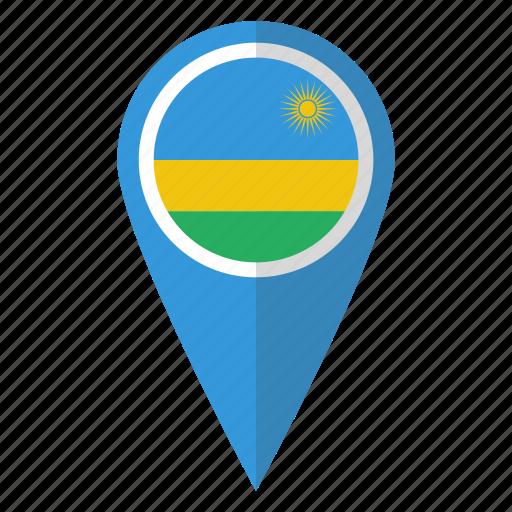 country, flag, map marker, national, pin, rwanda, rwandan icon
