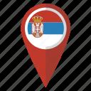 flag, pin, serbia, map icon