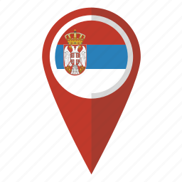country, flag, map marker, national, pin, serbia, serbian icon