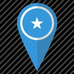 country, flag, map marker, national, pin, somalia, somalian icon
