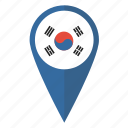 flag, korea, korean, map, pin, pointer, south icon