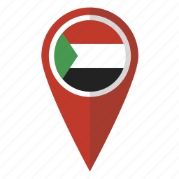 country, flag, map marker, national, pin, sudan, sudanese icon