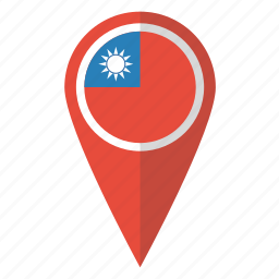 country, flag, map marker, national, pin, taiwan, taiwanese icon