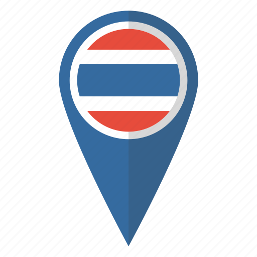 country, flag, map marker, national, pin, thai, thailand icon