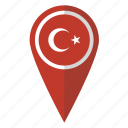 country, flag, map marker, national, pin, turkey, turkish icon