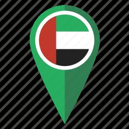 arab, emirates, flag, map, pin, pointer, uae icon