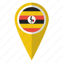 country, flag, map marker, national, pin, uganda, ugandan icon