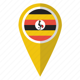country, flag, map marker, national, pin, uganda, ugandan icon
