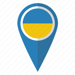 country, flag, map marker, national, pin, ukraine, ukrainian icon