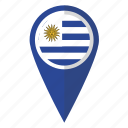 flag, pin, uruguay, map