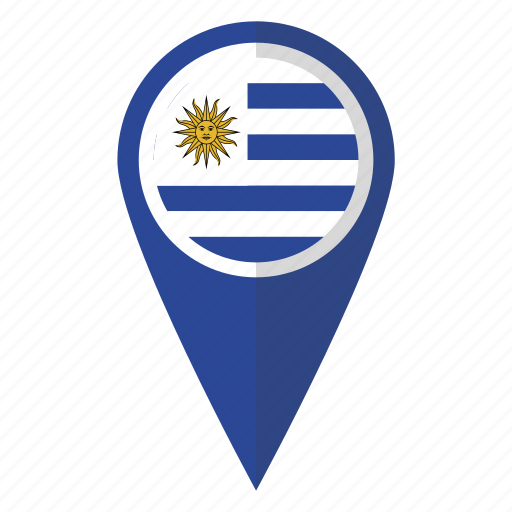 country, flag, map marker, national, pin, uruguay, uruguayan icon