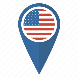 america, flag, map, pin, pointer, us, usa icon