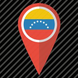 country, flag, map marker, national, pin, venezuela, venezuelan icon