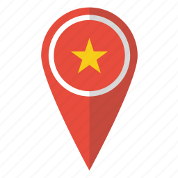 country, flag, map marker, national, pin, vietnam, vietnamese icon