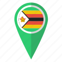 country, flag, map marker, national, pin, zimbabwe, zimbabwean icon