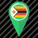 flag, pin, zimbabwe, map icon