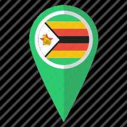 country, flag, map marker, national, pin, zimbabwe, zimbabwean icon