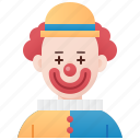 clown, comedian, entertainer, funny, man icon