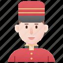 bellboy, doormen, hotel, service, uniform icon