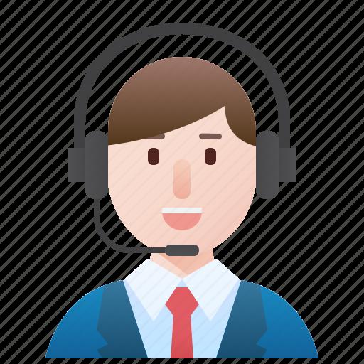 call, center, man, operator, service icon