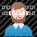 coding, computer, freelance, man, programmer icon