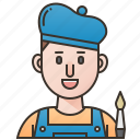 artist, drawing, gallery, man, painter icon