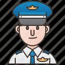 airplane, aviation, captain, man, pilot icon