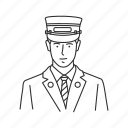 conductor, male, male conductor, male train conductor, profession, professionals, train conductor icon
