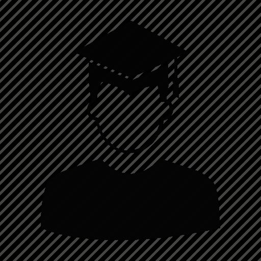 graduate, graduation, male, person, profile, user, worker icon