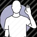 man, wave, greeting, hi, hand, waving, swear icon