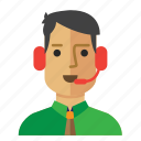 avatar, customer, man, operator, service, staff icon