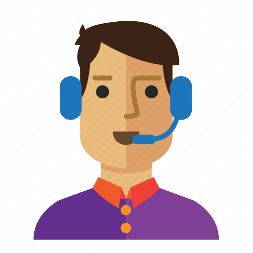 Customer, service, avatar, operator, man, staff icon