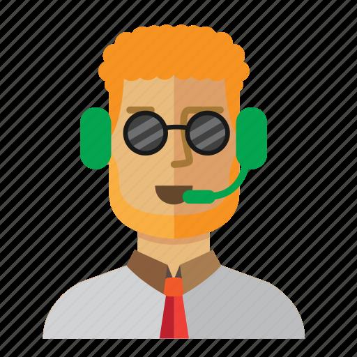 avatar, customer, man, operator, service, staff icon