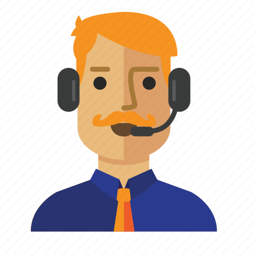 Customer, service, avatar, operator, man, staff icon