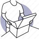 man, open, opening, box, unboxing, package, product icon